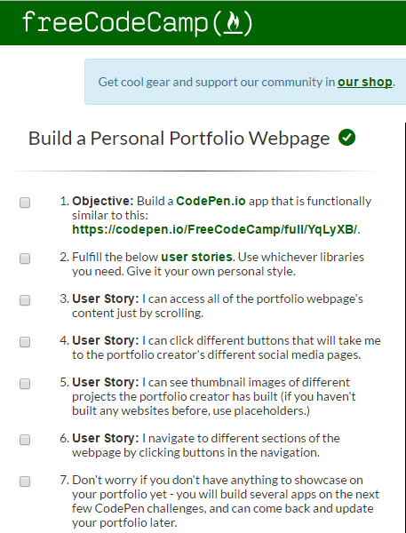 My First FreeCodeCamp Project – Portfolio Page | Trials and Tribulations